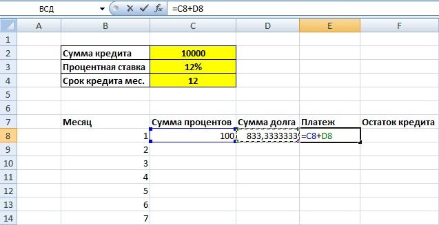 Кредитный калькулятор рассчитать ежемесячный платеж по кредиту