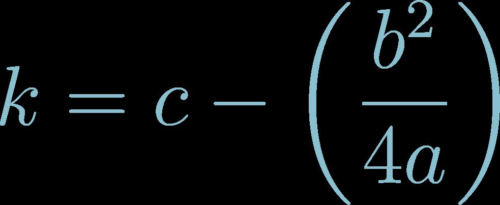 Formula of Vertex k of Quadratic Equations